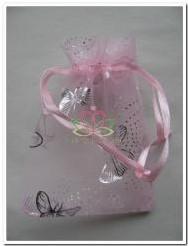 Giftbag organza Rose/Silver Butterfly 7*9 cm. Giftbag organza Rose/Silv