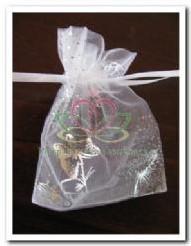 Giftbag organza White/Silver Butterfly 7*9 cm. Giftbag organza White/Sil