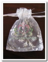 Giftbag organza White/Silver Snowflake +/- 7*9 PAK50 Giftbag organza White/Sil