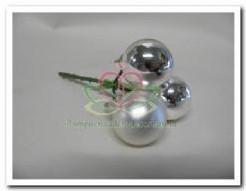 Kerstbal 3 stuks. 25mm op steker zilver Kerstballen