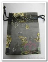 Giftbag organza Black Golden Butterfly 7*9 cm. Giftbag organza Black