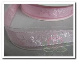 Lint Rose /rozen  24 mm breed / per meter Lint Rose /roz