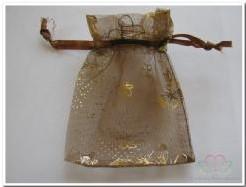 Giftbag organza Brown/Gold Butterfly 7*9 cm. Giftbag organza