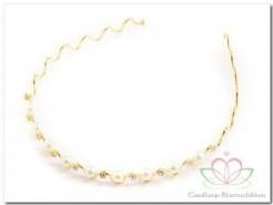 Haarband goudkleurig met pareltjes Haarband goudkl