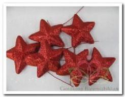 Glittersterren op draad rood +/- 7 cm. / zak 6st Glittersterren