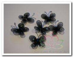 Vlindertjes zwart van zilverdraad 2 cm. /6 stuks Vlindertjes zwart
