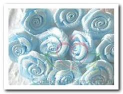 Satijnroosje lichtblauw 1,5 cm. / 5 stuks Satijnroosje
