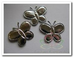 Padded Silver Butterfly +/- 2 cm. / 5 st Padded Silver B