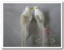 Duivenpaar met strass steen, 14 cm. Duivenpaar met