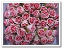 Mini foam roos 2 cm. pink / doosje 144 Mini foam roos