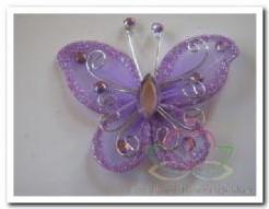 Vlinder Lila met diamantjes 5 cm. Bruidsdecoratie Vlinder Lila met diamant