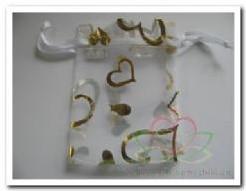 Giftbag organza White Gold Open Heart +/- 7*9 cm. Giftbag organza wit-goud