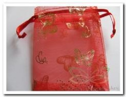 Giftbag organza Red Golden Butterfly 7*9 cm. Giftbag organza Red Gold