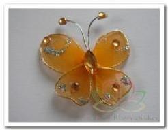 Vlinder Oranje glitter/diamantje 3. 5cm. Bruidsdeco Vlinder Oranje glitter