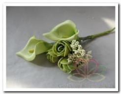 Corsage Calla - mini roos pickGroen /s Corsage Calla