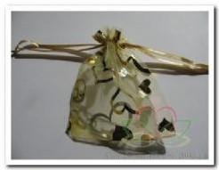 Giftbag organza Goud Open hart 7*9 cm. Giftbag organza Goud