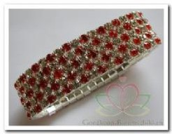 Polsarmband 5 rijen rood / zilver Polsarmband 5 r
