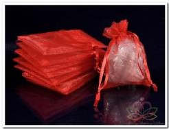 Giftbag organza Rood9*13 cm. Giftbag organza Rood9*13