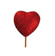 Glitterhart rood 5cm. stok 12cm. Glitterhart rood
