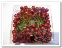 Balletjes op draad 2 cm. Donkerrood glans mat/doos 144 stuks Kerstballen 2 cm.