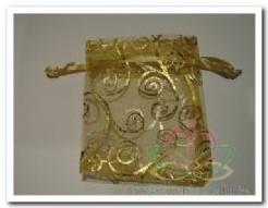 Giftbag organza Gold Aquatic 7*9 cm. Giftbag organza Gold Aqua