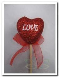 Hart bijsteker rood glitter+Love+strik / st Hart bijsteker