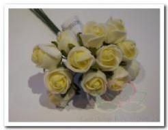 Mini foam roos 2 cm. creme / bundel Mini foam roos