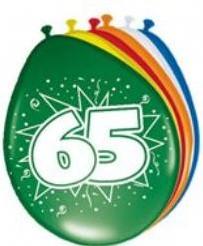 Ballon 65 jaar 30 cm./ 8 stuks Ballon 65 jaar