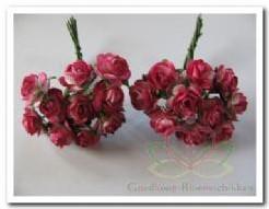 Mulberry roosje cherryrose2tone 1cm./pakje100 Mulberry roosje