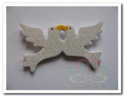 Strooihoutjes duivenpaartje met glitter / pakje Strooihoutjes d