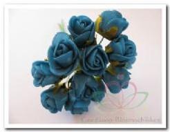 Actie Mini foam roos 2 cm. Blauw Azuro/ doos144 Mini foam roos