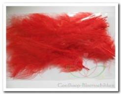 Veertjes Rode Dons 10-15 cm. +/- 15 stuks Veertjes Rode D