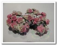 Mulberry roosje wit/rose2tone 1cm./pakje100 Mulberry roosje