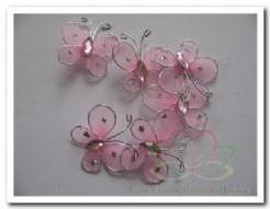 Vlindertjes rose van zilverdraad +/-3. 5 cm. /6 stuks Vlindertjes rose