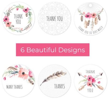 500 Stickers Labels Rol Thanks thank you 6 designs rol sluit etiketten