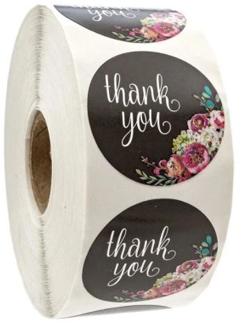 500 Stickers Labels Rol Thank you Black and flowers rol sluit etiketten
