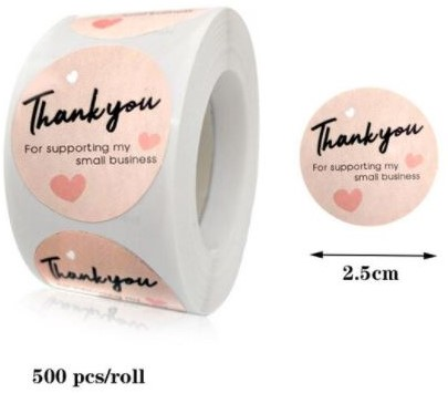 500 Stickers Labels Rol Thank you for Supporting My Small Business  rol ROZE etiketten