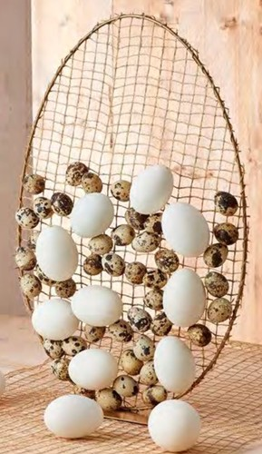 Frame Ei Metal egg ring 24x35cm on base gold Ei frame