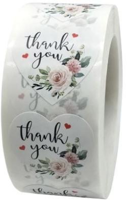 500 Thank You witte HARTvorm Stickers met rozen - 1 inch Labels +/- 500 Per rol Thank you sluitsticker labels