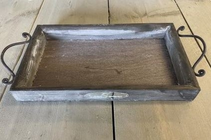 Houten dienbladen Old wash met zinken handvat SET 2 stuks Tafeldecoratie ondergrond