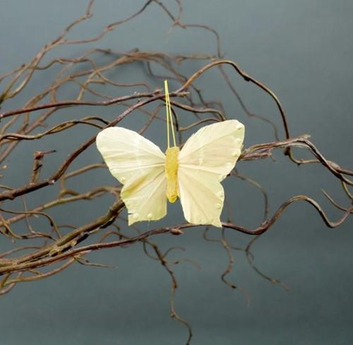 Vlinders Geel 6 st met clip 7 cm Vlinder