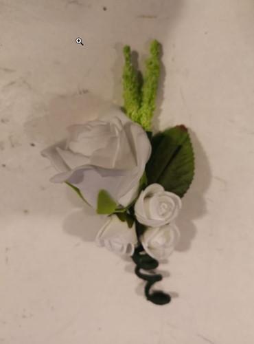 Corsage Roos Wit met groen CLR425 Corsage Roos
