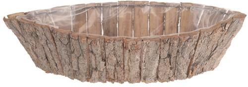 Schorspot, schaal, mand ovaal 42x18x10cm. White wash Schorspot