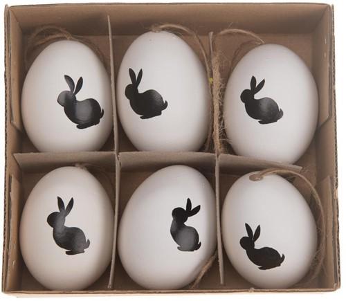 'Kippeneieren Hen's eggs opdruk ''Bunny'' 6 stuks' Kippeneieren Bunny