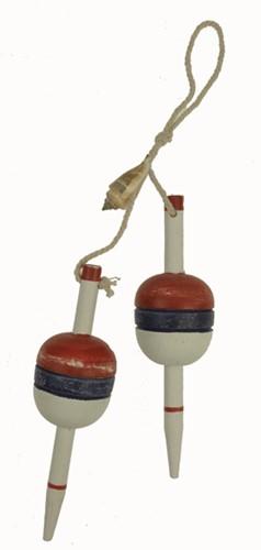 Maritiem hanger 2 decoratiedobbers aan touw 27cm Dobbers