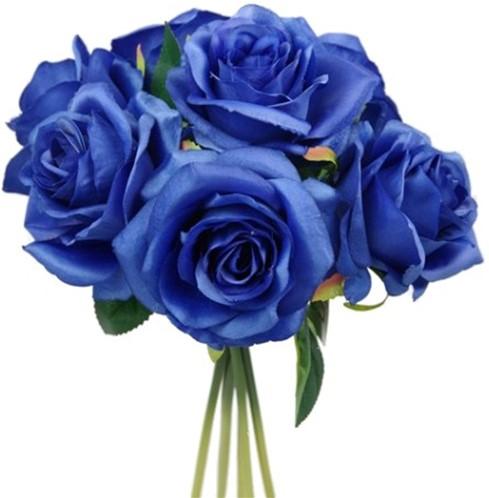 25cm. LARGE OPEN ROSE BUNDEL KoningsBlauwe Zijderoos 7st Flowerwall bruidsboeket