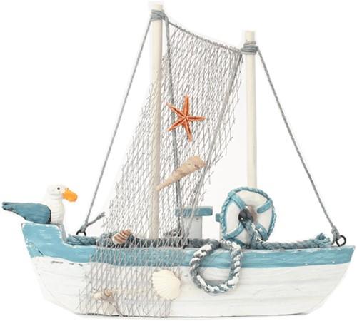 Maritiem  Vissersboot 22cm met meeuw en net.