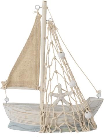 Maritiem Zeilboot 10 cm. Blauw Zeilboot de grotere