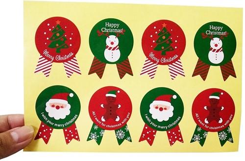 80 Stickers Labels Kerstetiketten Kerst sluitsticker