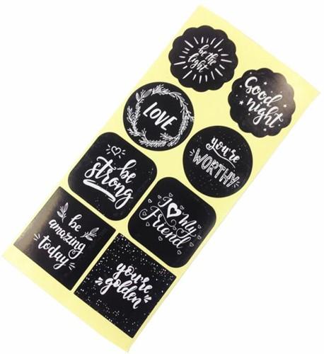 80 Stickers Labels Assortiment Zwart met WIT opdruk 80 Stickers Labels